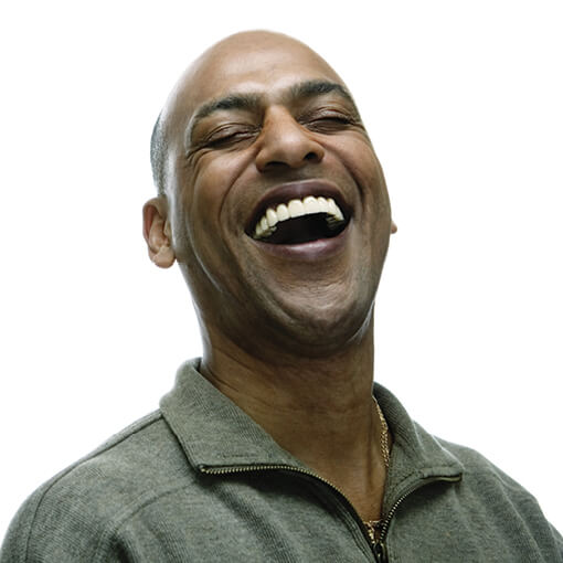 Happy, laughing Mature African American Male